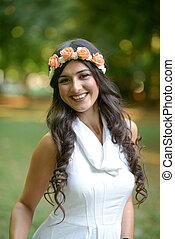 mulher bonita, natureza, grinalda, jovem, floral, retrato