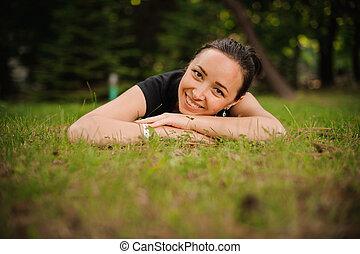 mulher bonita, natureza, jovem, retrato, sorrindo