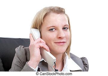 mulher bonita, negócio, olhando jovem, telefone, câmera