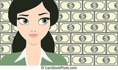 mulher bonita, negócio, sucedido, dólar, jovem, ilustração, notas, vetorial, fundo, frente