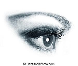mulher bonita, olhos