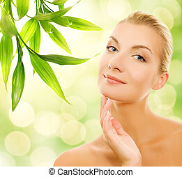mulher bonita, orgânica, dela, jovem, cosméticos, pele, aplicando
