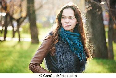mulher bonita, outono, parque