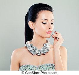 mulher bonita, pano, moda, retrato, modelo, prata