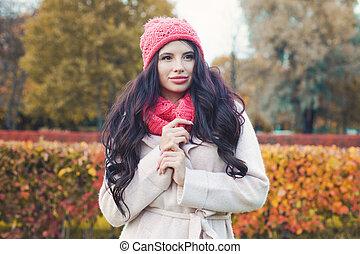 mulher bonita, parque, bonito, outono, outdoors., menina