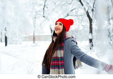 mulher bonita, parque, inverno, jovem