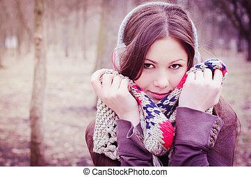 mulher bonita, parque, jovem