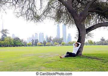 mulher bonita, parque, jovem, tabuleta