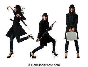 mulher bonita, pasta preta