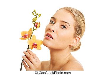 mulher bonita, pelado, flor, laranja, orquídea
