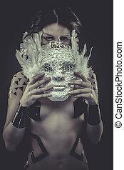 mulher bonita, pelado, máscara, tiras, condicão física, pretas, branca