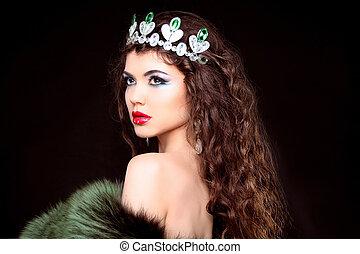 mulher bonita, pele, jóia, beauty., coat., cabelo longo, ...