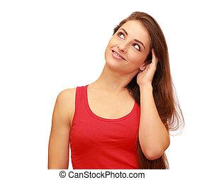 mulher bonita, pensando, cima, isolado, olhar, fundo, sorrindo, branca