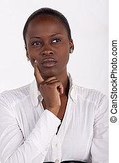 mulher bonita, pensativo, africano, expressão, sul