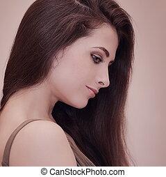 mulher bonita, perfil, com, cabelo longo, olhar, baixo., retrato arte