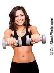 mulher bonita, pesos, levantamento, condicão física