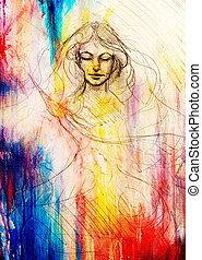 mulher bonita, phoenix, abstratos, voando, rosto, experiência., contemplative, desenho, pássaro