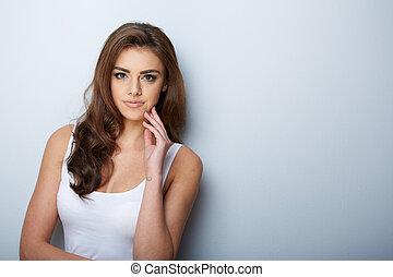 mulher bonita, portrait., beleza, girl., fresco, pele