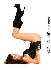 mulher bonita, prática, desgastes, yoga., botas, excitado