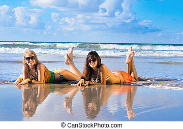 mulher bonita, praia, coloca