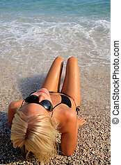 mulher bonita, praia