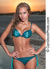 mulher bonita, praia, swimsuit