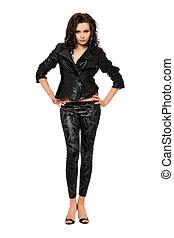 mulher bonita, pretas, jovem, roupas