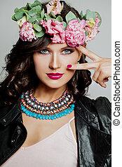 mulher bonita, primavera, maquilagem, flor, retrato, modelo, crown.
