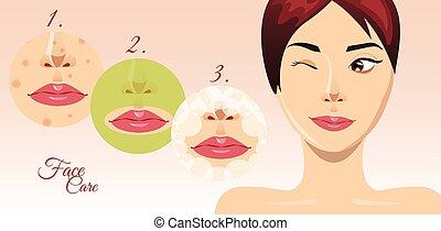 mulher bonita, processo, acne, rosto, tratamento, vetorial