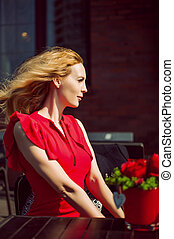 mulher bonita, profile., ela, vestido, vermelho