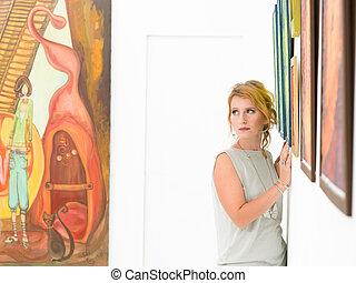 mulher bonita, quadro, exibição