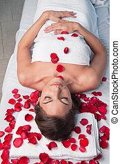 mulher bonita, relaxado, tabela massagem, mentindo