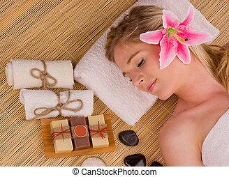 mulher bonita, relaxante, conceito, de, spa