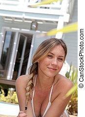mulher bonita, relaxante, loura, retrato, piscina