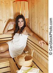 mulher bonita, relaxante, sauna, madeira, morena