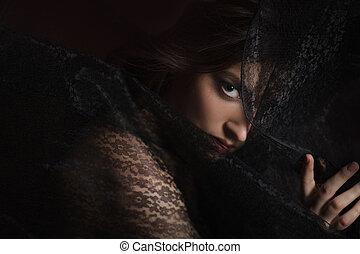 mulher bonita, renda, pretas, misteriosa, retrato, véu
