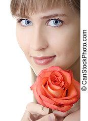 mulher bonita, retrato, com, rosa, isolado