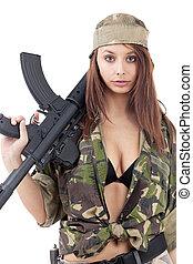 mulher bonita, rifle
