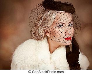 mulher bonita, romanticos, maquilagem, ondulado, retro, retrato, modelo, hairstyle.