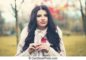 mulher bonita, romanticos, parque, outono, outono, outdoors., menina