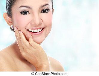 mulher bonita, rosto asiático