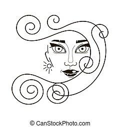 mulher bonita, rosto, cabelos formam, ícone