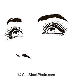 mulher bonita, rosto, com, expressivo, femininas, olhos, vetorial, ilustração