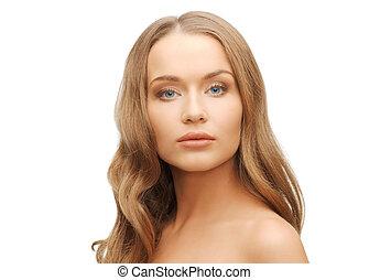mulher bonita, rosto, com, longo, cabelo loiro