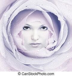 mulher bonita, rosto, flower.
