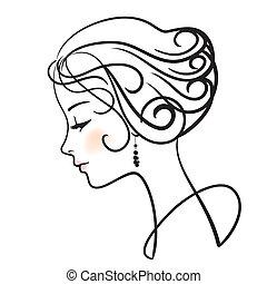 mulher bonita, rosto, vetorial, ilustração