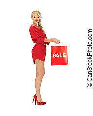 mulher bonita, saco shopping, vestido, vermelho