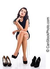mulher bonita, sapatos, chooses, longo, jovem, cabelo