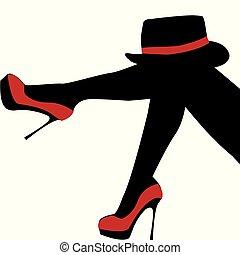 mulher bonita, sapatos, excitado, pernas, chapéu, vermelho