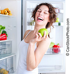mulher bonita, saudável, jovem, alimento, refrigerador